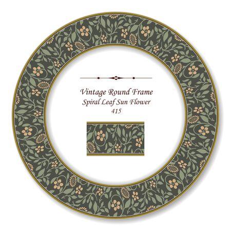 sun flower: Vintage Round Retro Frame 415 Spiral Leaf Sun Flower Illustration