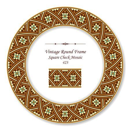 vintage retro frame: Vintage Round Retro Frame Square Check Mosaic