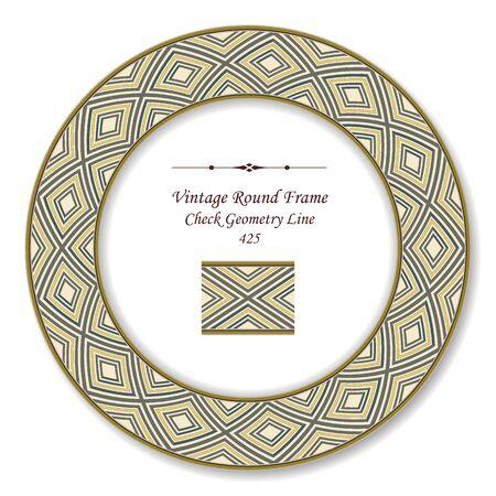 vintage retro frame: Vintage Round Retro Frame Check Geometry Line