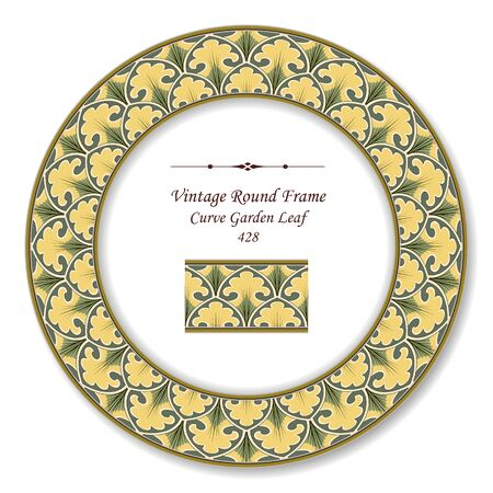 vintage retro frame: Vintage Round Retro Frame Curve Garden Leaf Illustration