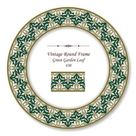 vintage retro frame: Vintage Round Retro Frame  Green Garden Leaf