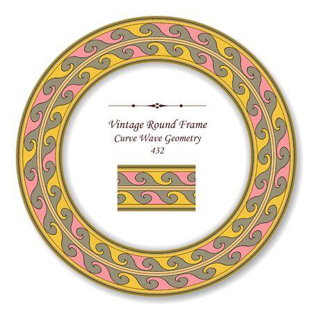 vintage retro frame: Vintage Round Retro Frame Curve Wave Geometry Illustration