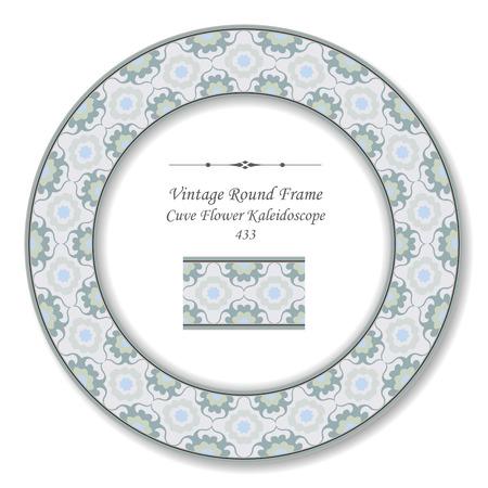 cuve: Vintage Round Retro Frame Cuve Flower Kaleidoscope Illustration