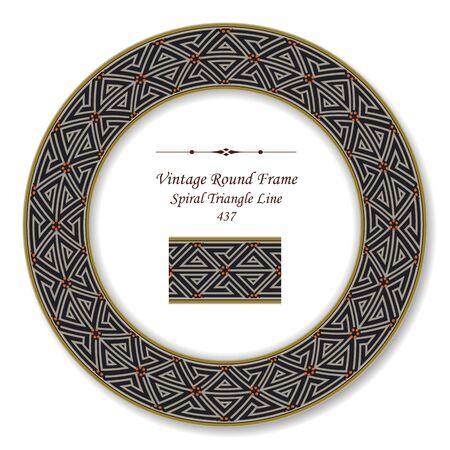 vintage retro frame: Vintage Round Retro Frame Spiral Triangle Line Illustration