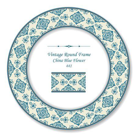 vintage retro frame: Vintage Round Retro Frame China Blue Flower
