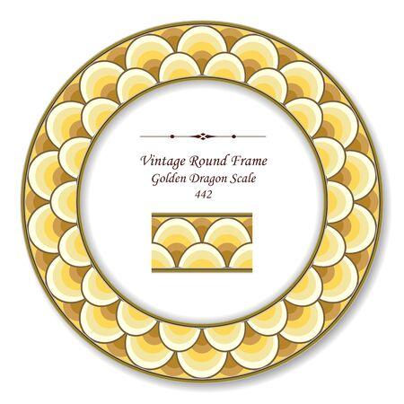 vintage retro frame: Vintage Round Retro Frame Golden Dragon Scale Illustration