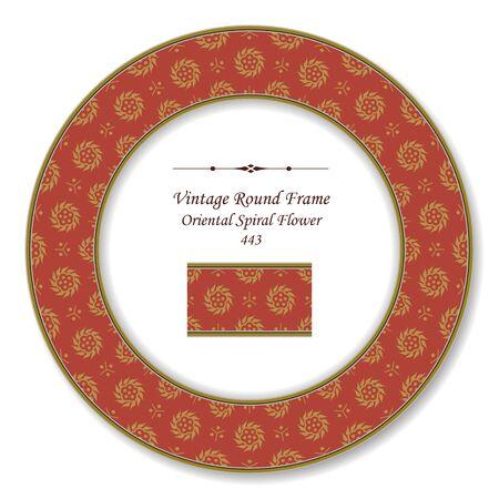 vintage retro frame: Vintage Round Retro Frame Oriental Spiral Flower