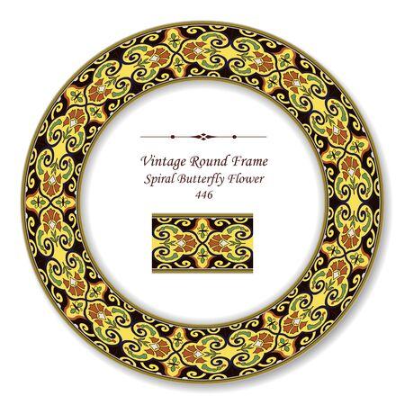 vintage retro frame: Vintage Round Retro Frame Spiral Butterfly Flower