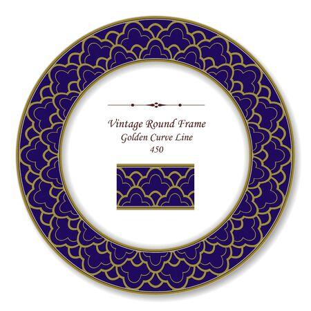 curve line: Vintage Round Retro Frame  Golden Curve Line
