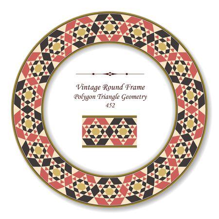 vintage retro frame: Vintage Round Retro Frame Polygon Triangle Geometry Illustration