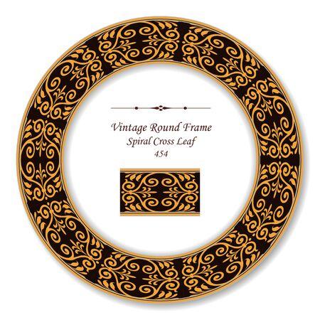 vintage retro frame: Vintage Round Retro Frame Spiral Cross Leaf