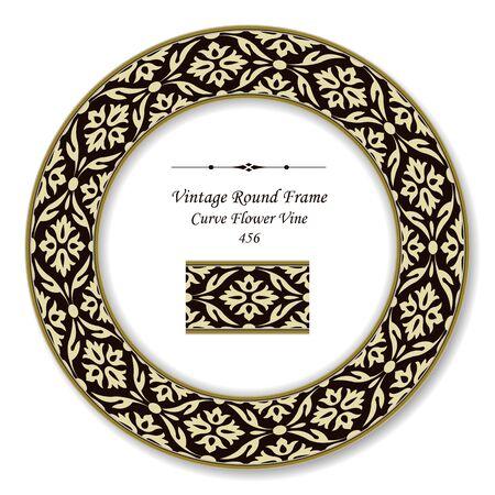 vintage retro frame: Vintage Round Retro Frame Curve Flower