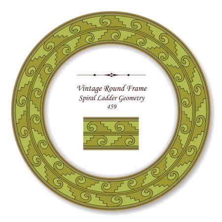 vintage retro frame: Vintage Round Retro Frame Spiral Ladder Geometry Illustration