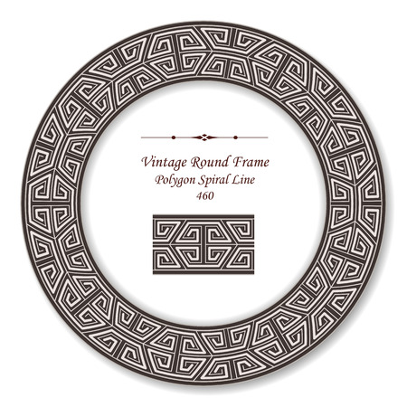 vintage retro frame: Vintage Round Retro Frame Polygon Spiral Line