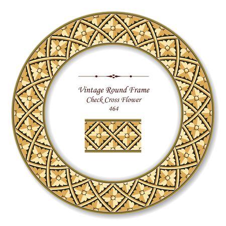 vintage retro frame: Vintage Round Retro Frame Check Cross Flower Illustration