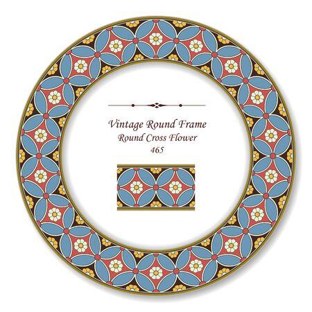 vintage retro frame: Vintage Round Retro Frame Round Cross Flower Illustration