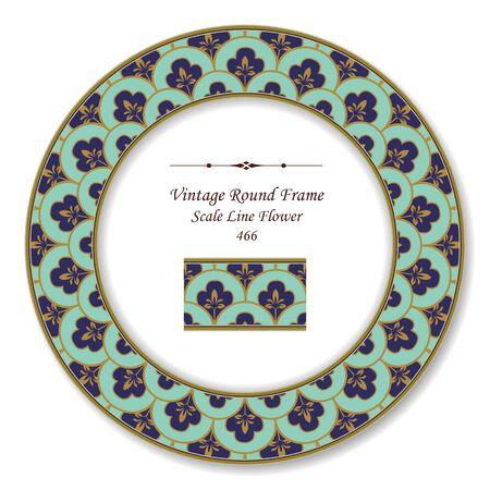 vintage retro frame: Vintage Round Retro Frame Scale Line Flower