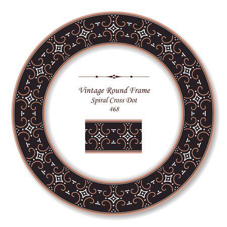 vintage retro frame: Vintage Round Retro Frame Spiral Cross Dot