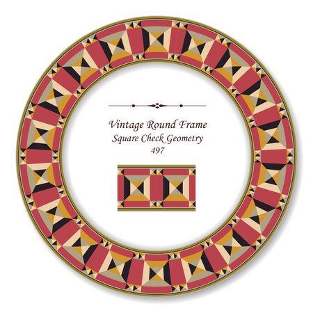 vintage retro frame: Vintage Round Retro Frame Square Check Geometry