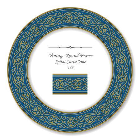 vintage retro frame: Vintage Round Retro Frame Spiral Curve