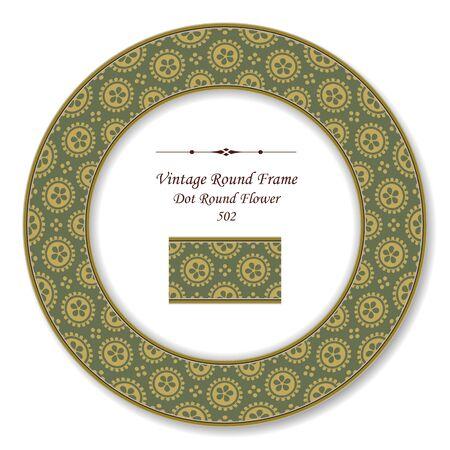 vintage retro frame: Vintage Round Retro Frame Dot Round Flower