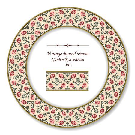vintage retro frame: Vintage Round Retro Frame Garden Red Flower Illustration
