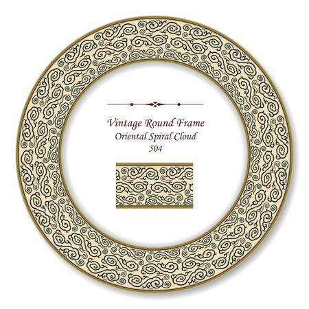 vintage retro frame: Vintage Round Retro Frame Oriental Spiral Cloud