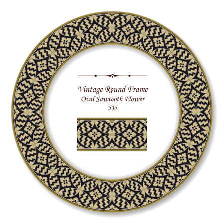 vintage retro frame: Vintage Round Retro Frame Oval Sawtooth Flower