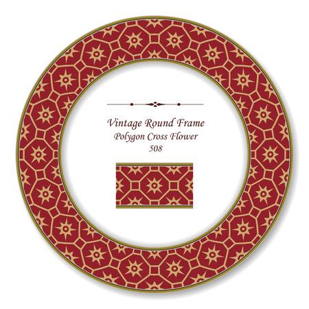 vintage retro frame: Vintage Round Retro Frame Polygon Cross Flower