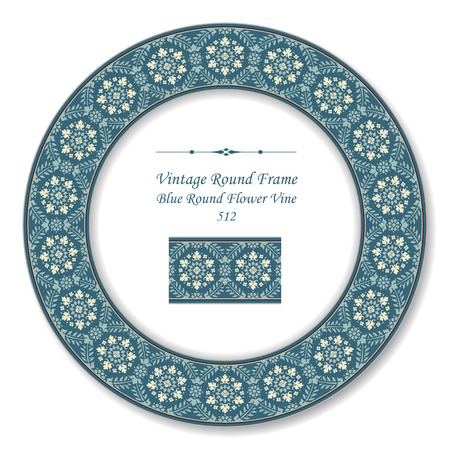 vintage retro frame: Vintage Round Retro Frame Blue Round Flower