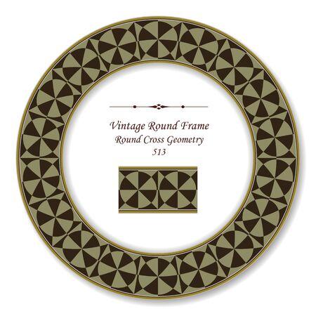 vintage retro frame: Vintage Round Retro Frame Round Cross Geometry