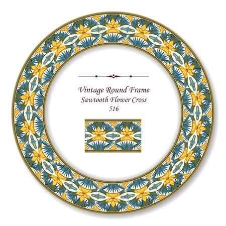 vintage retro frame: Vintage Round Retro Frame Sawtooth Flower Cross