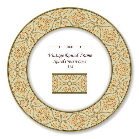 vintage retro frame: Vintage Round Retro Frame Spiral Cross Frame
