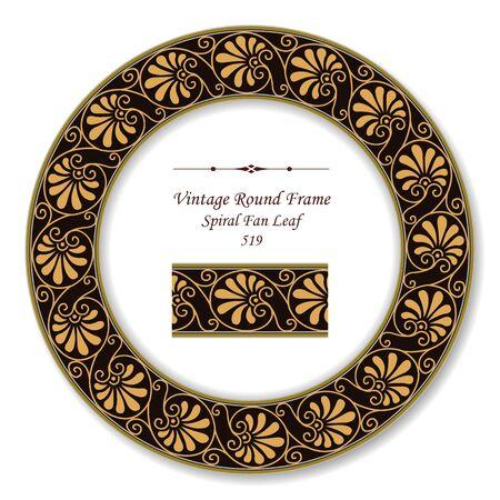 vintage retro frame: Vintage Round Retro Frame Spiral Fan Leaf Illustration