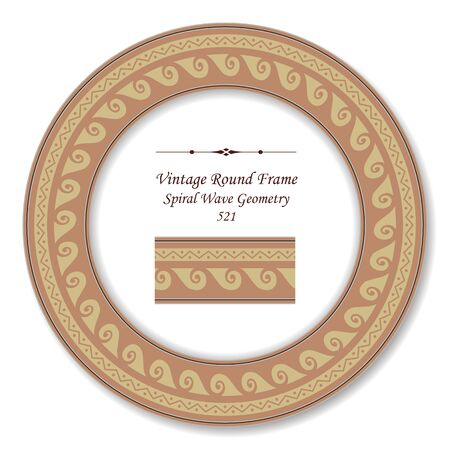 vintage retro frame: Vintage Round Retro Frame Spiral Wave Geometry