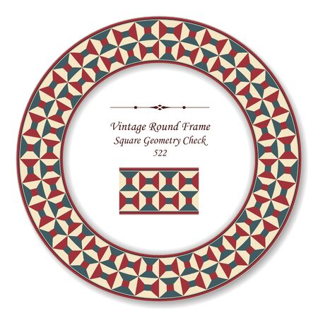 vintage retro frame: Vintage Round Retro Frame Square Geometry Check