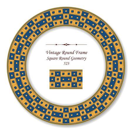 vintage retro frame: Vintage Round Retro Frame Square Round Geometry Illustration