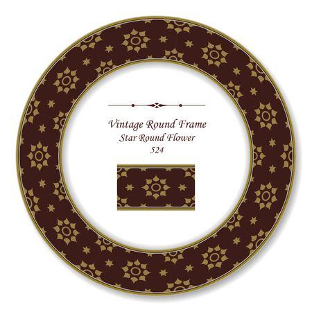vintage retro frame: Vintage Round Retro Frame Star Round Flower