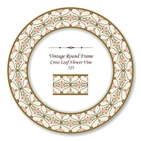 vintage retro frame: Vintage Round Retro Frame Cross Leaf Flower Illustration