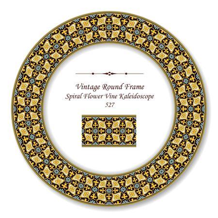 vintage retro frame: Vintage Round Retro Frame Spiral Flower Kaleidoscope