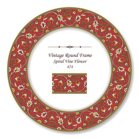 vintage retro frame: Vintage Round Retro Frame Spiral Flower