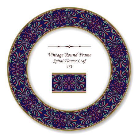 vintage retro frame: Vintage Round Retro Frame Spiral Flower Leaf Illustration