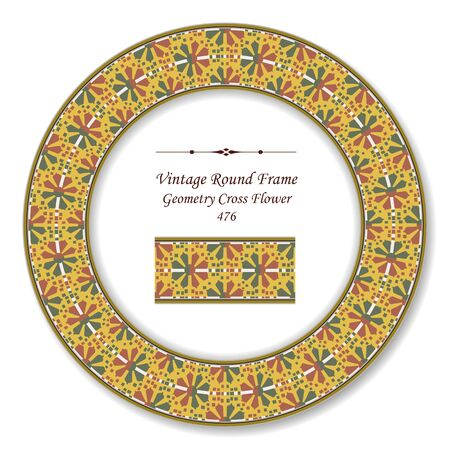 vintage retro frame: Vintage Round Retro Frame Geometry Cross Flower Illustration