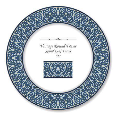 vintage retro frame: Vintage Round Retro Frame Spiral Leaf Frame Illustration