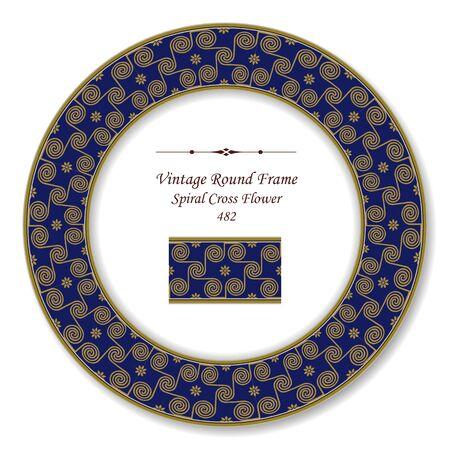 vintage retro frame: Vintage Round Retro Frame Spiral Cross Flower