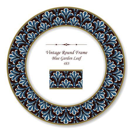 vintage retro frame: Vintage Round Retro Frame Blue Garden Leaf
