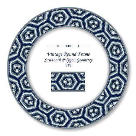 vintage retro frame: Vintage Round Retro Frame Sawtooth Polygon Geometry
