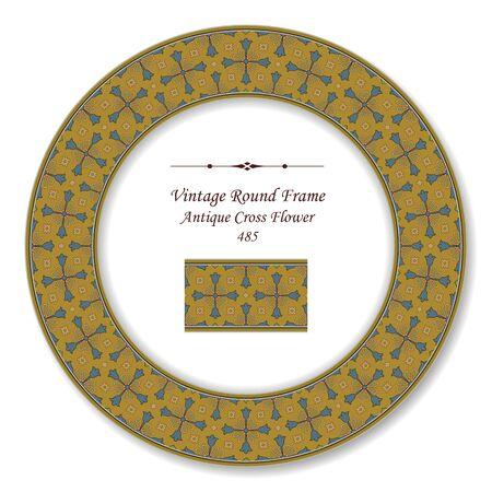 vintage retro frame: Vintage Round Retro Frame Antique Cross Flower Illustration