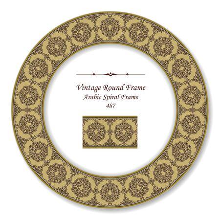 vintage retro frame: Vintage Round Retro Frame Arabic Spiral Frame