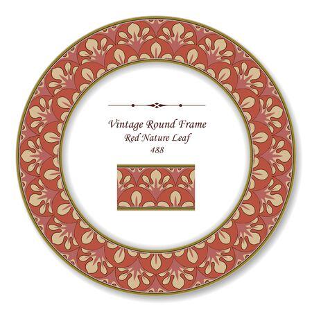 vintage retro frame: Vintage Round Retro Frame Red Nature Leaf